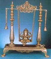 Religious statue- Lord ganesh on swing handmade artifact