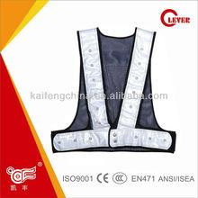 Dark Blue LED Reflective Light Net Vests Fabric With 7cm Width Tape