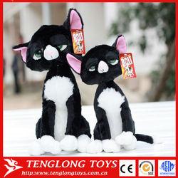 New design stuffed big eyes halloween plush black cat