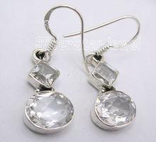 925 Sterling Silver CUBIC ZIRCON Dangle Earrings 3.4CM