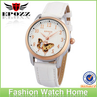 Fashion waterproof mechanical watch ladies big dial leather watch