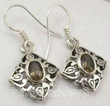 925 Silver SMOKY QUARTZ NICE CAST Dangle Earrings 3.4CM