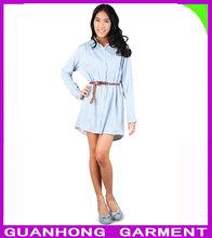 mais recente moda tarja de cambraia azul claro hign qualidade camisa para mulheres 2013
