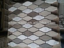 carrara marble mosaic tile mixed wood grain stone tile shaped lantern for kitchen decoraiton