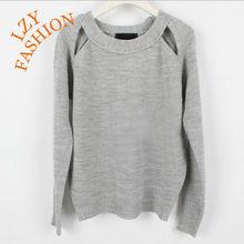 Women fashion holes armhole wool acrylic plain knit jumper sweater