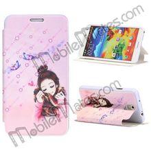 Newest Design Cartoon Girl Print TPU Leather Case Flip Cover for Samsung Galaxy Note 3 N9000 N9002 N9005