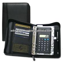 ADACF - 0179 a5 portfolios with pen holder / leather ring binder portfolios / business black leather 2 pocket portfolios