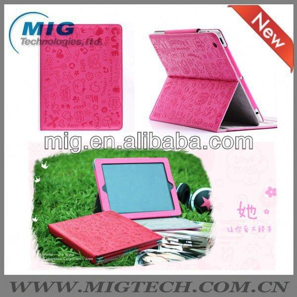 2013 novo produto pouco gril caso magnético couro para apple ipad3 4 5, Para ipad 2 caso com suporte