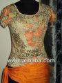 pamuk baskılı örme 1x1 kaburga kumaşlar t shirt kız ve kadın çiçek baskı yuvarlak boyun polo tişörtleri tee capsleeve multiprint
