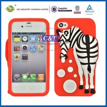 C&T 3d cute soft silicone case cover skin for iphone 4