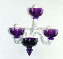Modern Murano glass wall lamp SL8027-2+1 clear+purple