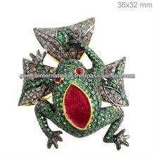 Tsavorite sterlina 925 anello in argento animale, rubino diamante spianare anello animale, gemma anello gioielli produttore