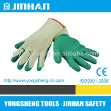 2013 JINHAN brand popular design latex coating cotton glove, green latex coated work gloves,latex coat