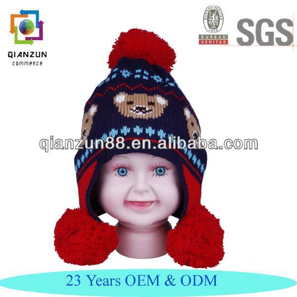 Nice Dark Blue Bear Balls Kids Knitted Beanie Hat With Ear Muff