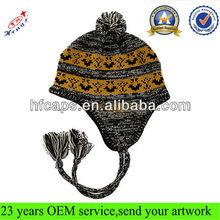 Custom knitted jacquard beanie hat with earflaps pattern/pom pom beanie hats wholesale/cute beanie hats