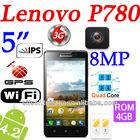 "Lenovo P780 Android 4.2 MTK6589 Quad Core 1.2GHz 5"" HDS IPS LCD 3G/Wifi/RAM 1GB/ROM 4GB /8MP Phone Black"