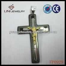 FP0929 wholesale christian jewelry black jesus pendant 3d jesus cross