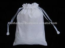 Drawstring White Cotton Bag