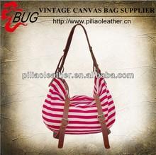 2013 hot sell vintage cute cotton stripped lady's shoulder bag/brown leather trim handbag/pretty hobo cotton bag wholesale