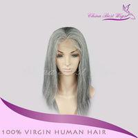 Human Hair grey lace front wig