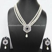 Real Pearl Beaded Sapphire Stone Necklace Earring Set Indian Women Wear Jewelry