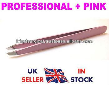 New Professional + Pink Eyebrow Tweezers , Hair Tweezer, Eyebrows ETC , Slanted