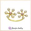 gold plating brass zircon ring snowflake shape split ring