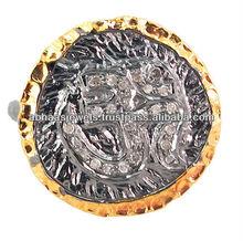 14k altın elmas om tasarımcı zil, 925 gümüş elmas om dini moda yüzük takı