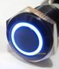 Blue LED Ultra Flush Light SPDT On Off Push Switch Ring Button 19mm for Cars