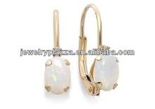10k Gold Earrings,Opal and Diamond Accent Leverback Earrings