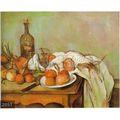 100% سيزان بول اليدوية الشهيرة لا تزال الحياة وحة زيتية على قماش، البصل، زجاجة، الزجاج واللوحة