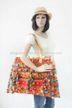 Beautiful Large Hmong Hil Tribe Pom Pom Decorative Flower Shoulder Bag