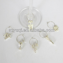 Home make silver plated wine glass charms
