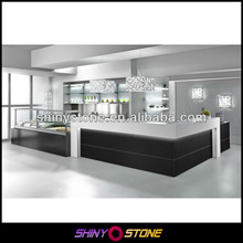 Top design L-shape modern stylish artificial marble bar counter with glass displaying cabinet