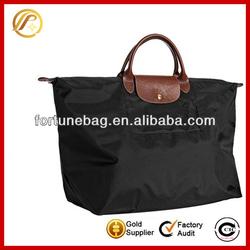 Fashion functional foldable black nylon tote bag