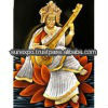 "25pc Indian Goddess Saraswati Handmade Oil Painting on Velvet Fabric Canvas Tapestry Hanging 28"" X 22"" wholesale lot"