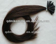 Tip hair extension dark brown color pre-bonded type Chinese virgin human hair extension