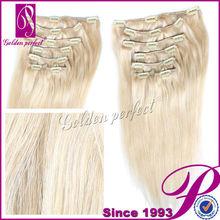 5a Grade 100% Brazilian Clip In Hair Extensions 613 Light Blonde
