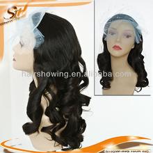 Best Quality virgin Mongolian hair 3/4 cap Band Fall Wig
