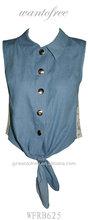 ladies' fashion demin color back lace combine hem wrap top
