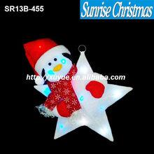 [2013 NEW] Christmas lighting/ christmas LED cotton Star / led Xmas star lighting with snowman head (MOQ:200)