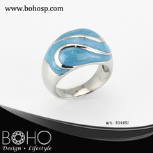 BOHO R344BU enamel flower rings/ rings ladies enamel/ 2013 fashion rings