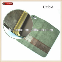 Wholesale - Canvas Leather Wallet Stand Case for i5/5s/5c phone cases cover canvas texture skin with credit card
