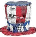la moda y popular de tela de lentejuelas tío sam sombrero de estados unidos de américa el día nacional del partido