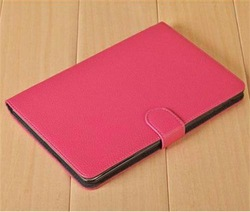 OEM Wholesale 2014 Folio Litchi Grain Design With Buckle Smart Leather Cases Holsters for ipad mini for tablet