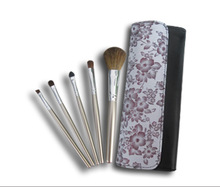 5 pcs professional makeup brushes with leather pouch