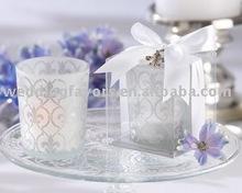 """Fleur de lis"" Frosted-Glass Tea Light Holder"