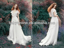 2014 New Chiffon Evening dress Sexy V-neck Short Sleeves Backless Floor Length Prom Dresses with Appliques and Sash BO3003
