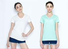 HOT SALE Solid Color Blank V Neck t shirt for woman wholesale available