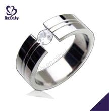 Smart craft elegant shiny cool cz titanium mens rings stone